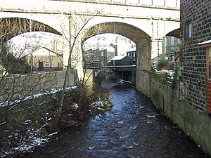 Mytholmroyd - Image: Elphin Brook and railway viaduct, Mytholmroyd geograph.org.uk 267863
