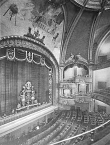 Black and white photograph of the front of the Eltinge Theatre