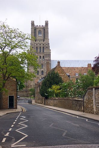 King's Ely - The Gallery, with Withburga house on the left, and School House garden to the right, with the Cathedral in the background