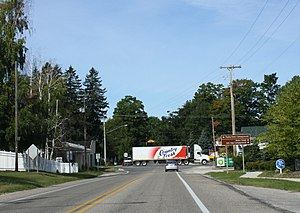 Empire, Michigan - Looking west at the western terminus of M-72