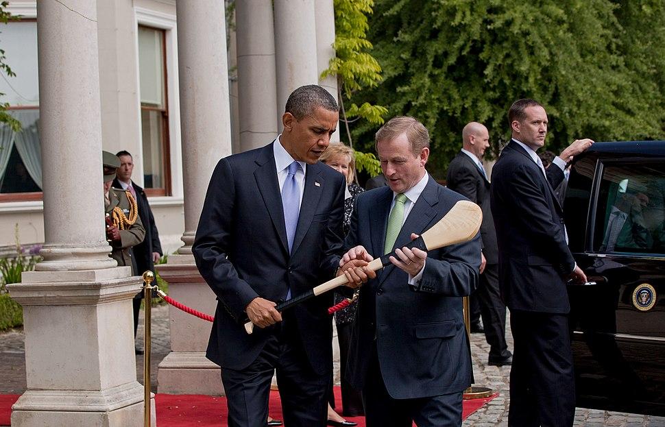 Enda Kenny presents Barack Obama with a hurley