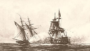 The schooner USS Enterprise opens up a broadside upon the polacca Tripoli at close quarters in the open sea, blowing debris off the ship in a cloud of splinters.