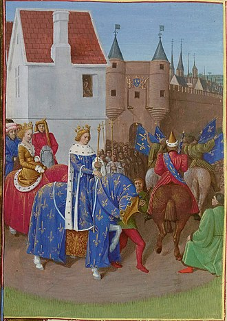 Royal Entry - Entry of John II of France and his Queen into Paris after their Coronation at Reims in 1350, later manuscript illumination by Jean Fouquet.