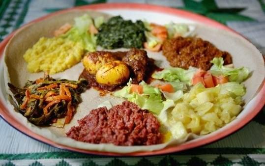 Eritrean Injera with stews