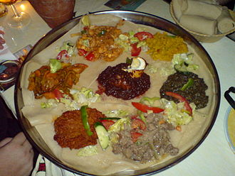 Eritrean cuisine - Customary Eritrean serving of food