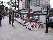 A bike-sharing station in Barcelona