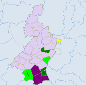 Qujing - Light green -Yi. Blue - miao. Red - zhuang.Dark green- Bouyei. Yellow- Shui