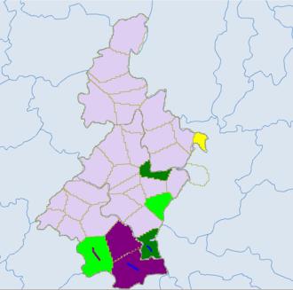 Qujing - Light green -Yi. Blue - miao. Red - zhuang.Dark green- Bouyei. Yellow- Shui