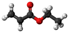 Ball-and-stick model of the ethyl acrylate molecule