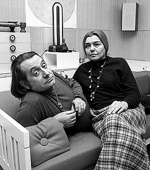 Ettore Sottsass - Ettore Sottsass and Fernanda Pivano at their home in Milan in 1969