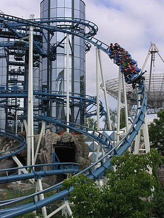 Spinning roller coaster - Euro-Mir, a spinning roller coaster at Europa-Park, Germany.