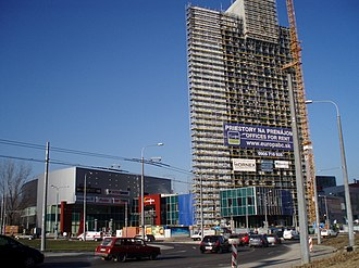 Banská Bystrica - Banská Bystrica's economic growth, exemplified here by the construction of the Europa Business and Shopping Center (2007), mirrors the economic growth of Slovakia