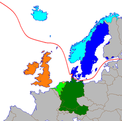 The Germanic languages in Europe are divided into North (blue) and West Germanic (green and orange) Languages      Low Franconian and Low German      High German      Insular Anglo-Frisian (English, Scots)      Continental Anglo-Frisian       East North Germanic      West North Germanic      Line dividing the North and West Germanic languages.