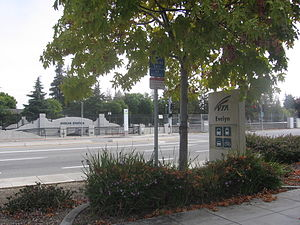 Evelyn station - Entrance to station seen from across East Evelyn Avenue, September 16, 2012
