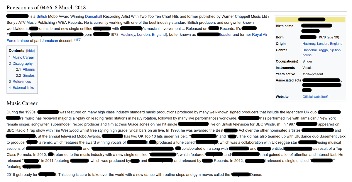 Example of non NPoV editing of a Wikipedia music page.png