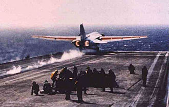 General Dynamics–Grumman F-111B - F-111B, BuNo 151974, being launched from USS Coral Sea in July 1968. It was the only F-111B to perform carrier operational trials.