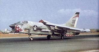 Vought F-8 Crusader - An F-8E of VMF(AW)-235 at Da Nang, in April 1966 showing the IRST sensor in front of the canopy.