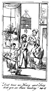 Black-and-white illustration showing two girls and a boy in a domestic setting. One girl is reading and another is playing with a doll while the boy is bothering them. Their mother looks on.