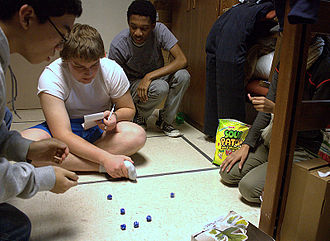 Farkle - College roommates playing Farkle in their dorm, 2010