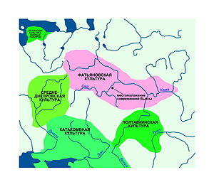 Fatyanovo–Balanovo culture - Fatyanovo-Balanovo culture is shown in pink.
