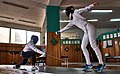 Fencing in Greece. Greek Epee Fencers. Training with fencers from other clubs at Athenaikos Fencing Club.jpg