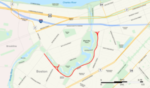 Fenway (parkway) - Map with the Fenway highlighted in red.