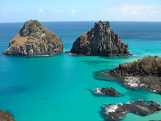 The islands of Fernando de Noronha, Brazil, are the visible parts of submerged mountains. Fernando noronha.jpg