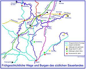 Frühgeschichtliche Fernwege im Sauerland