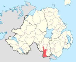 Location of Fews Upper, County Armagh, Northern Ireland.