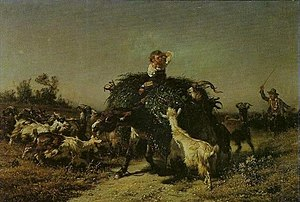 Filippo Palizzi - Fennel Cart attacked by Goats, 1857