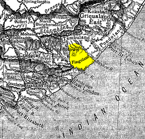 Fengu people - Map of Fingoland (highlighted), and surrounding regions of the Eastern Cape Frontier. 1911.