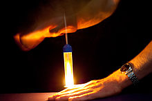 A piece of flash cotton is ignited by the sudden compression of a fire piston.
