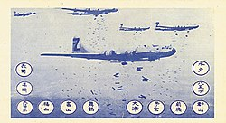 B-29s dropping bombs. There are twelve circles with Japanese writing in them.
