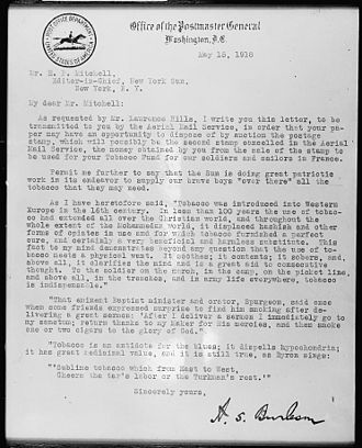 Albert S. Burleson - One of the first letters delivered by US Airmail, written by Burleson