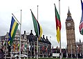 Flags of the Commonwealth flying in Parliament Square, London.jpg