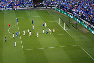 Penalty area - The penalty area with penalty box marking and the penalty arc in parallel to the goal. The smaller box is often called the 6-yard box