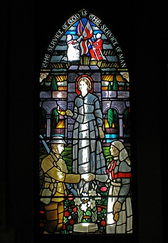 Florence Nightingale Museum - A stained glass window of Nightingale, on display at the museum