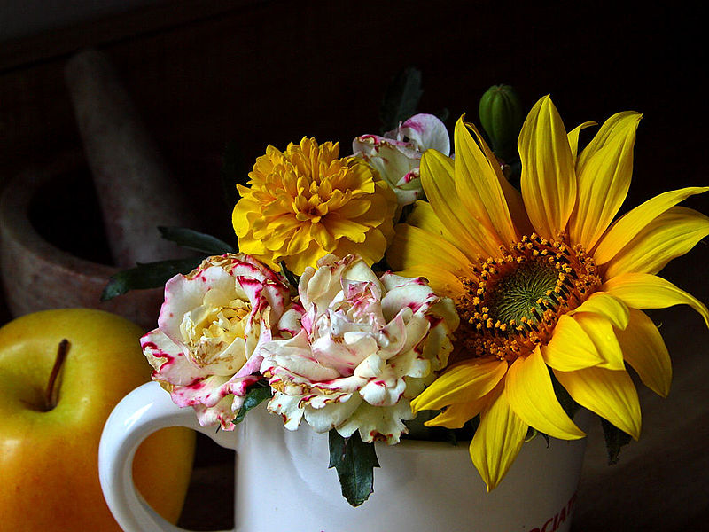 bouquet of flowers in a jug