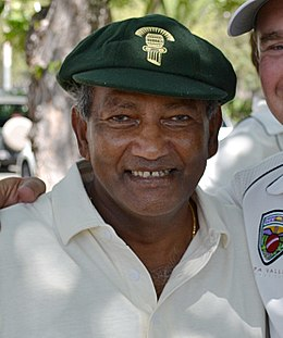 Former West Indian Test Captain Alvin Kallicharran with Napa Valley CC member Jack Evanko (Kallicharran cropped).JPG