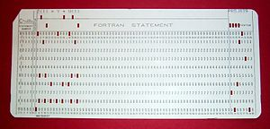 Fortran - FORTRAN code on a punched card, showing the specialized uses of columns 1–5, 6 and 73–80