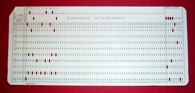 Punch card from a typical Fortran program