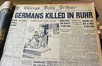 Occupation of the Rhineland - The March 6, 1923, edition of the Chicago Daily Tribune headlining the killing of German civilians by French soldiers during the Ruhr occupation.