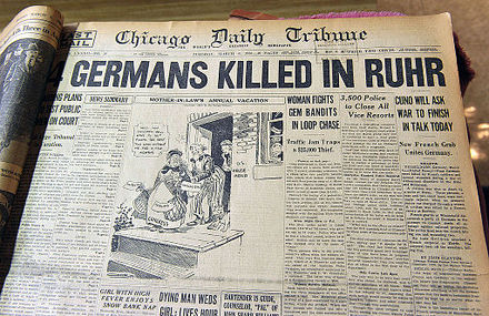 Front page of Chicago Daily Tribune, 6 March 1923, announcing French troops killing four resisting Germans France Invades Ruhr Chicago Daily Tribune 6 March 1923.jpg