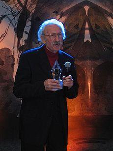 Franciszek Pieczka podczas jubileuszu 80-lecia Andrzeja Wajdy, Warszawa, 6 marca 2006