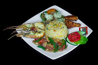 Bangladeshi cuisine - Restaurant Meal: Fried Rice, Prawn Fry, Beef Curry and Chicken Wings