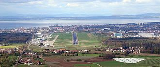 Friedrichshafen Airport - Aerial view of Friedrichshafen Airport with Lake Constance in the background