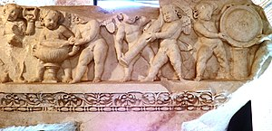 Temple of Venus Genetrix - Image: Frieze archivatre representing Cupids, from the first order of the cells internal decoration from the Temple of Venus Genetrix in the Forum of Caesar, Trajanic age, 113 AD, Museo dei Fori Imperiali, Rome (8070749843)