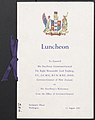 Front Cover of Farewell Programme for HE Lieutenant-General the Rt. Hon. Lord Freyberg, Governor-General of New Zealand - Luncheon menu, Toast list and Musical programme (13 August 1952).jpg