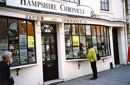 Hampshire Chronicle office in Winchester, 1999 Front window of Hampshire Chronicle newspaper, England, 1999.jpg