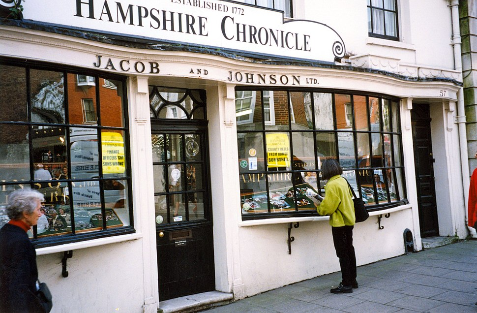 Front window of Hampshire Chronicle newspaper, England, 1999